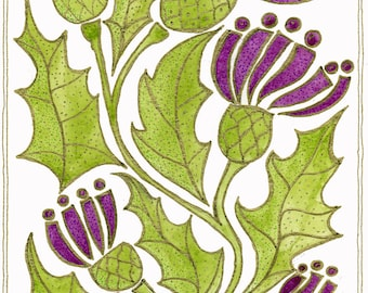 The thistle,  emblem of Scotland - giclee A4 print