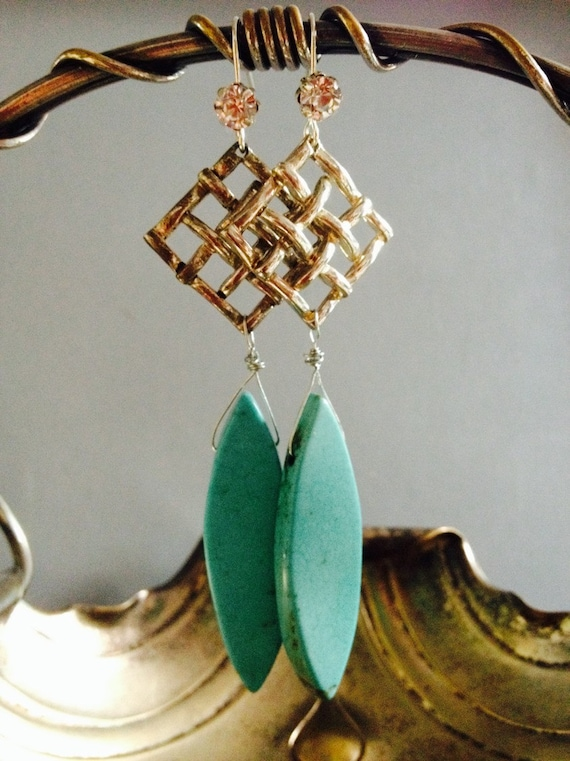 """Dangle Earrings """"Turquoise Drops collection"""" assemblage Repurposed,  Art Deco, Vintage inspired, Crystals, Cross, filigree, Something Blue"""