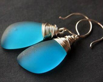 Pacific Blue Seaglass Earrings. Pacific Blue Earrings. Pacific Blue Sea Glass Earrings. Wire Wrapped Wing Earrings. Handmade Jewelry.