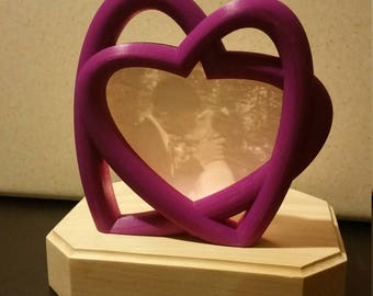 Personalized Lithophane in Double Heart Frame
