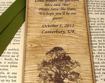 100 Woodgrain Save The Date Bookmarks with Matching Envelope-by Craftypagan Designs