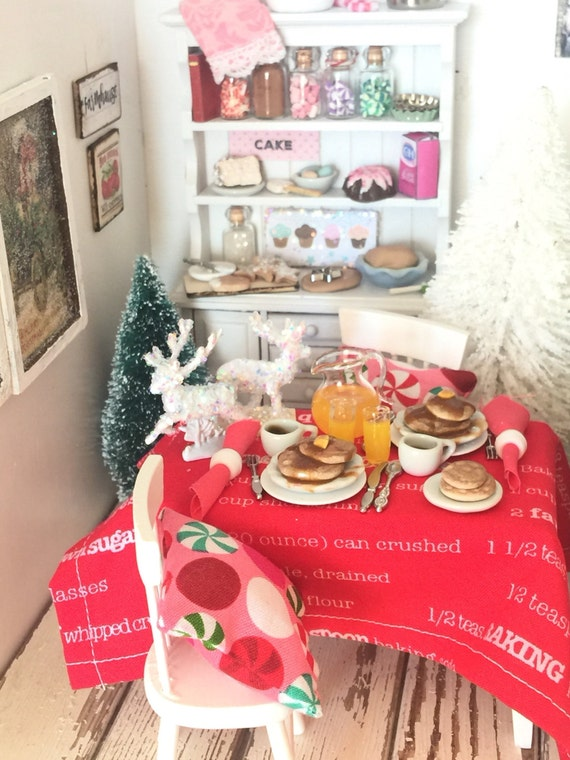SALE-Miniature Dollhouse Christmas Morning Breakfast, Table, 2 Pillows and  Chairs