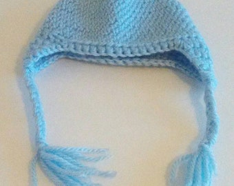 Crochet preemie blue hat beanie with braids
