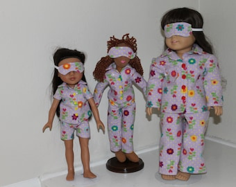 Pajamas and sleep mask for your 18 or 14 inch doll.