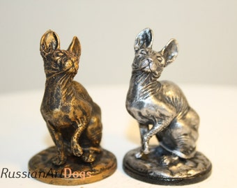 Miniature  Sphynx sphinx cat  figurine from the alloy of tin pewter statuette