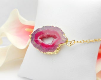 FREE US Ship Pink And Gold Filled Drusy Bracelet Pink OOAK Agate Drusy Bracelet Boho Style Drusy Bracelet Dark Pink Agate Bracelet