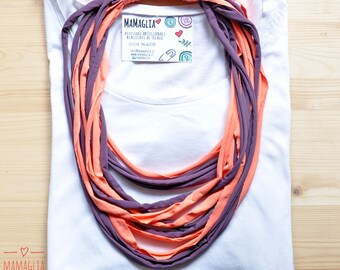 Multiple strand necklace, Ecofriendly Necklace, Ribbon collier for women, Fabric jewelry, Textile collier, Rag necklace, Gift for her