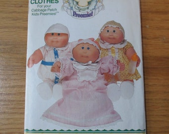 Vintage Cabbage Patch Kids Preemies Butterick 6980 or 345 UNCUT boy and girl doll clothes gown romper dress panties hats