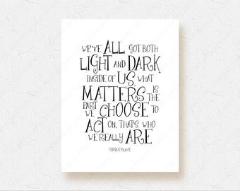 Harry Potter Movie Poster Sirius Black Quote Print Bedroom Decor - We've All Got Both Light and Dark Wall Art, Black and White Wall Art 1016