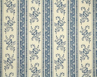 Retro Wallpaper by the Yard 80s Vintage Wallpaper - 1980s Blue and Tan Floral Stripe