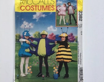 McCalls Costumes 2382 Boys Girls Pot-Belly Ant Bee Butterfly Ladybug Spider Toddler Size 2 3 Uncut Sewing Pattern
