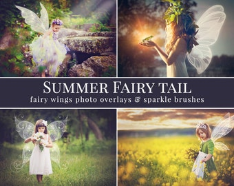 """Fairy photo overlays """"Summer Fairy Tail"""", fairy wings photo overlays and sparkle brushes, gift - crown overlay, photo overlays for Photoshop"""