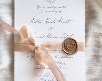 Crest Calligraphy Invitation + RSVP & Envelopes