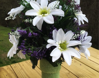Cemetery Vase Flowers, Memorial Flowers, Grave Decoration for Headstone Vases, Side Vase Flowers for Grave