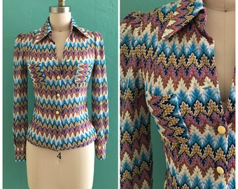 70's mesh printed blouse // multi color top