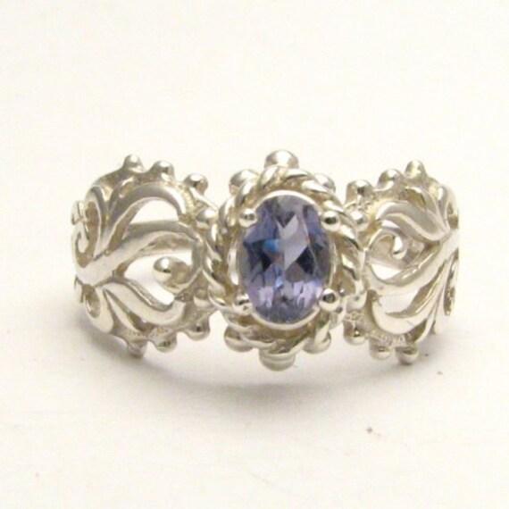 Handmade Sterling Silver Iolite Filigree Gemstone Ring