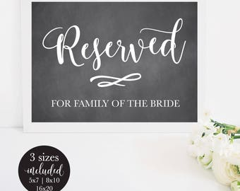 Chalkboard Printable Reserved Sign for Wedding, Rustic Seating Table Card for the Bride and Groom's Family, Editable PDF Instant Download