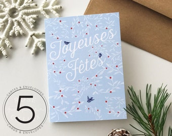 Set of 5 Christmas Cards and Envelopes - Happy Holidays - Winter Berries & Little Birds - Blue, Red, White