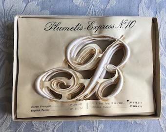 "Antique monogram letter B, Large size 10, vintage French, haberdashery initial wedding sheet, torchon Plumetis Express ""B"" trousseau unused"