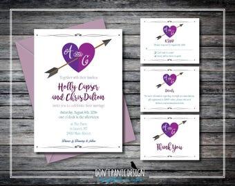 Fun Printable Bohemian Arrow through Heart Invitation Set -  Custom Colors