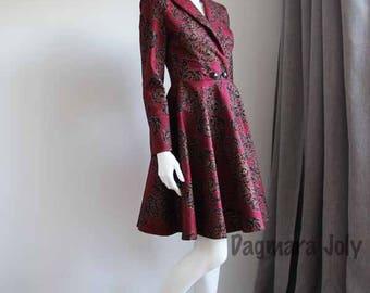 Coat dress, Burgundy coat, women's coat, summer coat, wrap coat, above knee coat