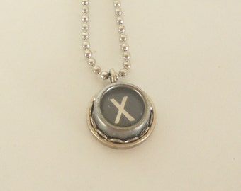 Typewriter Key Necklace -  Letter X - Vintage - Initial Jewelry -  ALL Letters Available - Typography Jewelry