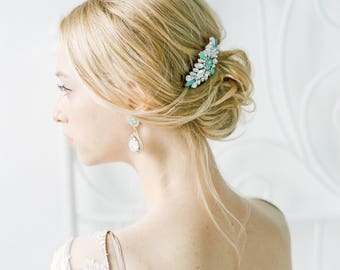 Mint Opal Bridal Hair Comb, Beaded Crystal Bridal Comb, one-of-a-kind hair comb, Mint wedding accessories, bridal headpiece, #1010-Mint