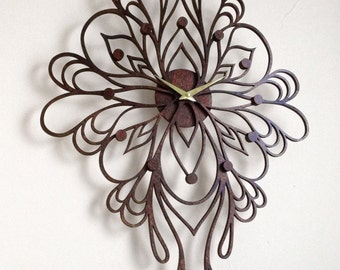 "18 x 24"" Sophia Wall Clock, Large. Laser Cut, Unique, Boho, Art Nouveau, Modern, Wood, Wall Art, Decor."