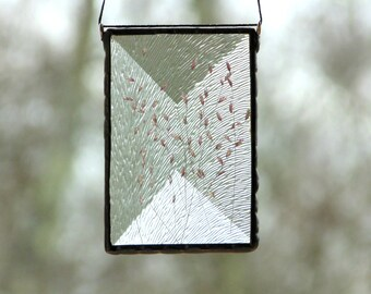 Pressed flower art, dried flower terrarium suncatcher ornament, stained glass, gift under 30, wildflowers nature inspired glass art