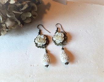 Vintage Style Rose and Tear Drop Bead Earrings