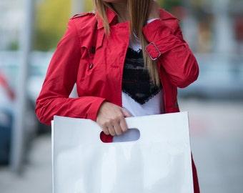 Trendy bag, Italian Patent Leather Tote bag, Borsa di cuoio, Large leather bad, White Leather Bag, Leather Tote Bag - BA0853LDL