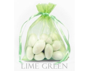 100 Lime Green Organza Bags, 3 x 4 Inch Sheer Fabric Favor Bags, For Wedding Favors, Jewelry Pouches