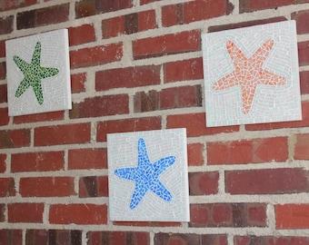 Mosaic Wall Art - Starfish trio