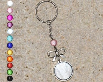 Keychain cabochon 20 mm Pearl and bow holder