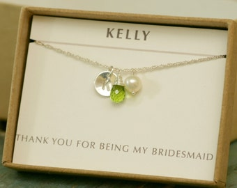 Personalized peridot necklace, personalized bridesmaid gifts, initial necklace, bridesmaid necklace, August birthstone jewelry - Ella