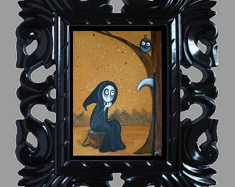 Dark Fantasy Lowbrow Art Print -- Gothic Whimsy - Grim Reaper - A Needed Break