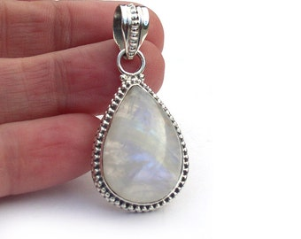 Rainbow Moonstone Teardrop Pendant .925 Sterling Silver