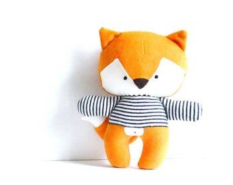 "Fox foxy rag doll with navy blue and white striped tee stuffed toy fox plushie fox softie stuffed animal woodland rusty orange 26cm 10.2"""