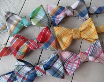Newport Plaid Bow Tie~Mens Self Tie Bow Tie~Mens Pre-Tied~Anniversary Gift~Wedding Tie~HoBo Ties~Cotton Bow Tie~Mens Gift~Wedding~Mens Plaid