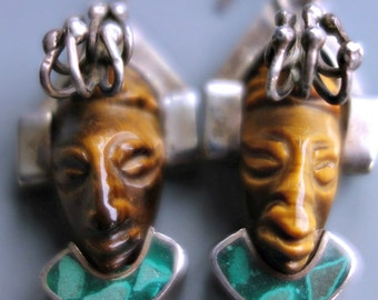 Mexico Carved Aztec Sterling Earrings