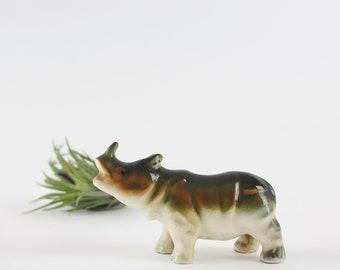 Vintage Ceramic Rhinoceros Figurine - Miniature Rhino Decor Made in Japan