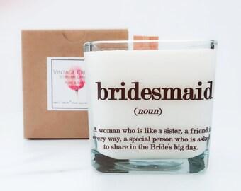 Set of 6 Bridesmaids Candles/Bridesmaid's Gifts/Bridesmaid Boxes/Bridesmaid Proposal/Wedding Candles/Bridesmaid Thank You/Wedding Gifts