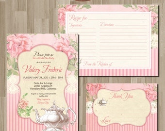 Shabby chic Tea Party  Invitation. DIY card. Roses. Digital Printable card.