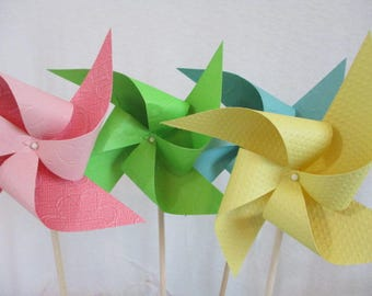 Pinwheels Birthday Party Decorations Home Decor Pastel Pinwheel Cake Topper Birthday Favors Table Centerpiece Baby Shower Spinning Pinwheels