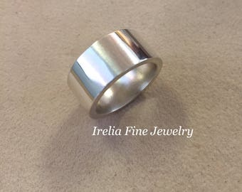Bold 10mm Wide Sterling Silver Solid Flat Band 2.5mm Thick and Heavy Sizes 7.5 & 8  -- Ready to Ship