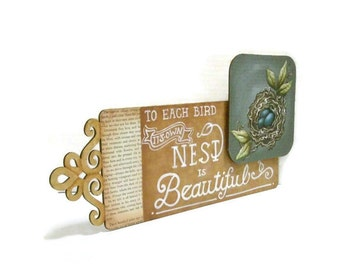Mixed Media Nest Sign | Hand Painted Wooden Sign | Filigree Laser Cut wood