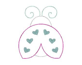 Ladybug Bean Stitch Applique Embroidery Design 5x7 6x10 8x8 8x12