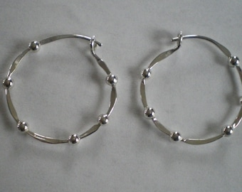Handmade Sterling Silver Beaded Hoop Earrings