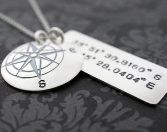Graduation Gift - Custom Coordinates - Travelers Necklace in Sterling Silver - Compass Pendant w/ Latitude Longitude Coordinates