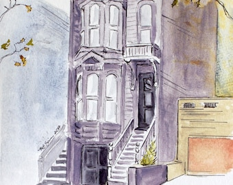 Custom House Painting, original watercolor painting, pen and ink art, personalized gift for newlyweds